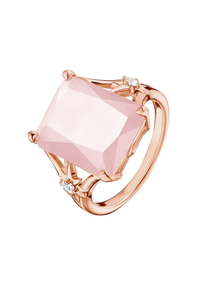 RING 925 STERLINGSILBER, 750 ROSÉGOLD VERGOLDUNG - Bague - pink, weiß, roségoldfarben