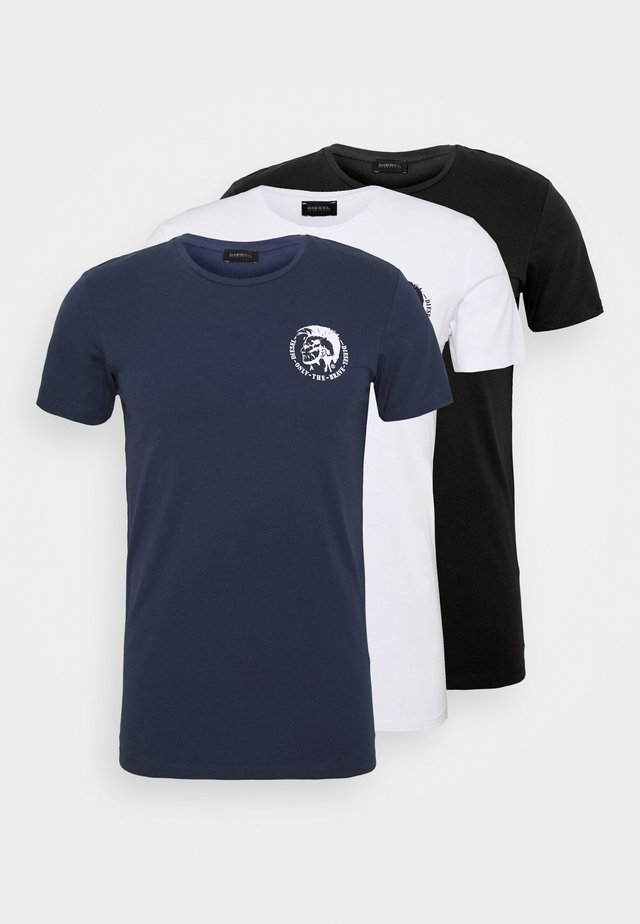 UMTEE RANDAL 3 PACK - T-shirts - white/dark blue/black