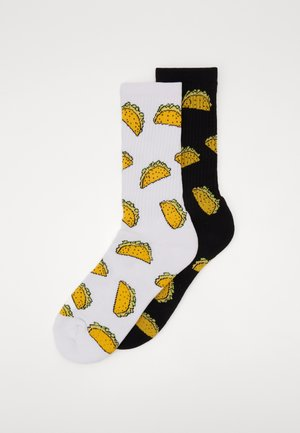 TACO SOCKS 2 PACK - Ponožky - black/white