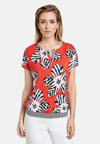 1/2 ARM - Print T-shirt - tangerine ecru schwarz druck
