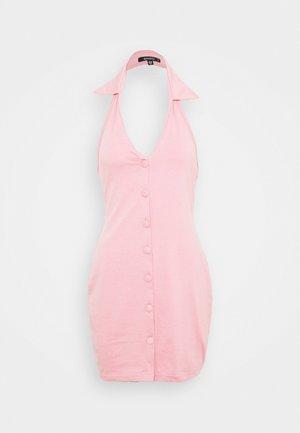 COLLARED BUTTON THRU MINI - Jersey dress - baby pink