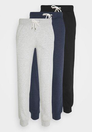 3 PACK - Tracksuit bottoms - mottled light grey/mottled dark blue/black