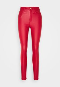 Noisy May - NMCALLIE SKINNY COATED PANTS - Trousers - haute red - 0