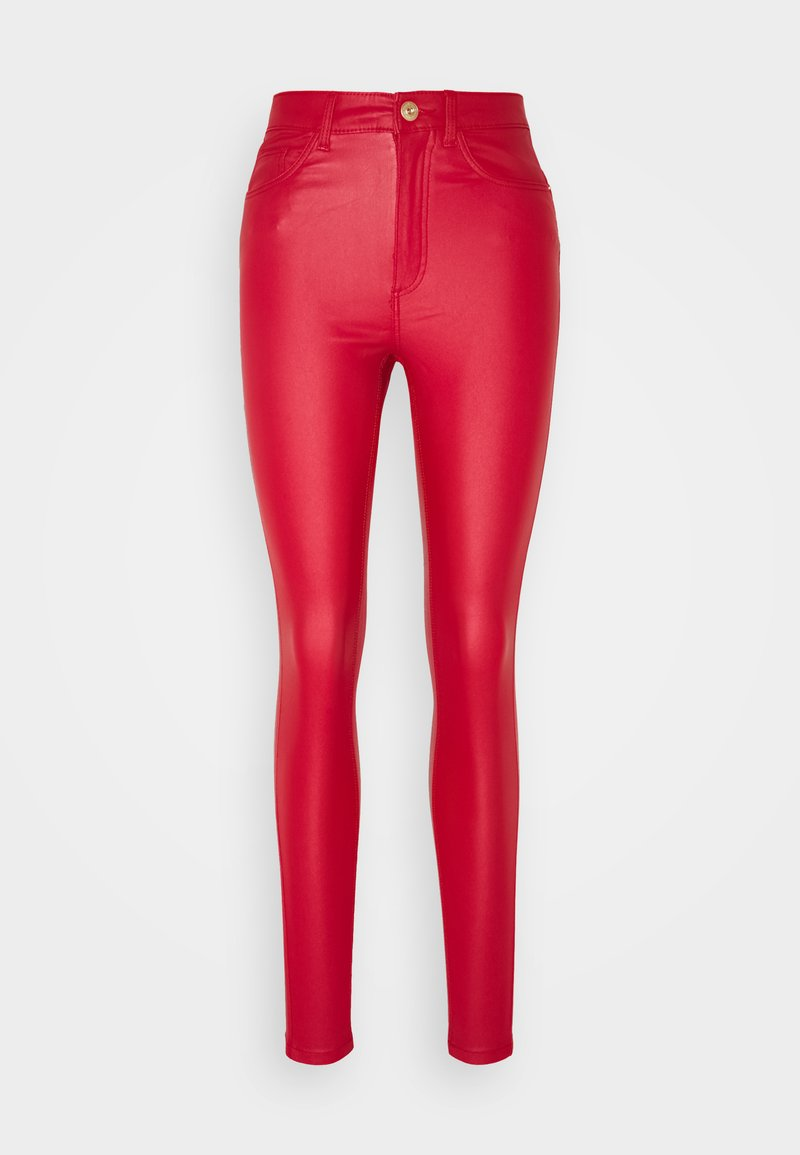 Noisy May - NMCALLIE SKINNY COATED PANTS - Trousers - haute red