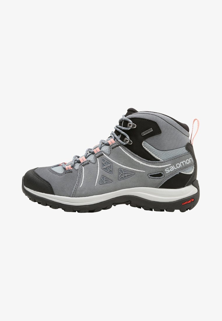 Salomon - ELLIPSE 2 MID GTX - Hiking shoes - lead/stormy weather/coral almond