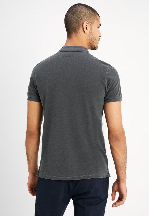 Marc O'Polo SHORT SLEEVE RIB DETAILS - Koszulka polo - pirate black/czarny Odzież Męska NQNY