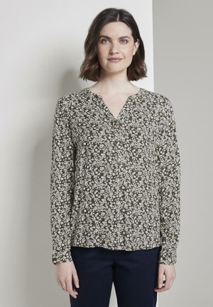 BLOUSE LONGSLEEVE PRINTED - Blouse - khaki offwhite floral design