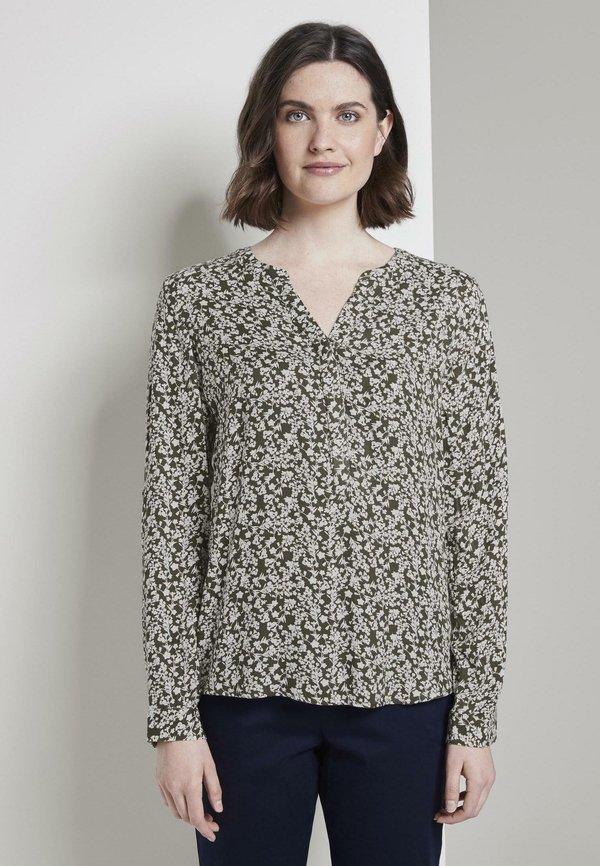 TOM TAILOR BLOUSE LONGSLEEVE PRINTED - Bluzka - khaki offwhite floral design/oliwkowy melanż KYPL
