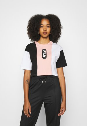 BASMA BLOCKED CROPPED TEE - T-shirts med print - black/bright white/coral cloud