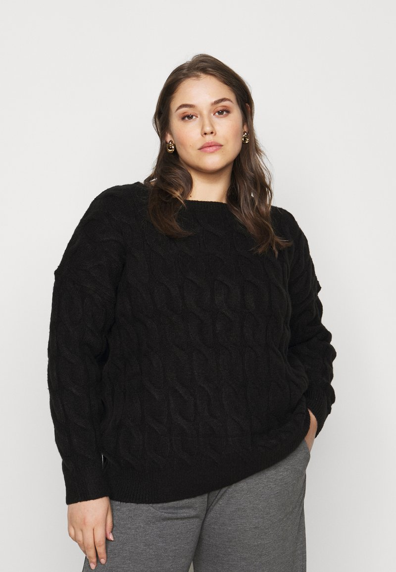 CAPSULE by Simply Be - ROPE CABLE JUMPER - Jumper - black