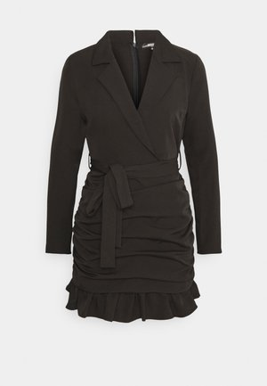 RUCHED FRILL BLAZER DRESS - Robe fourreau - black