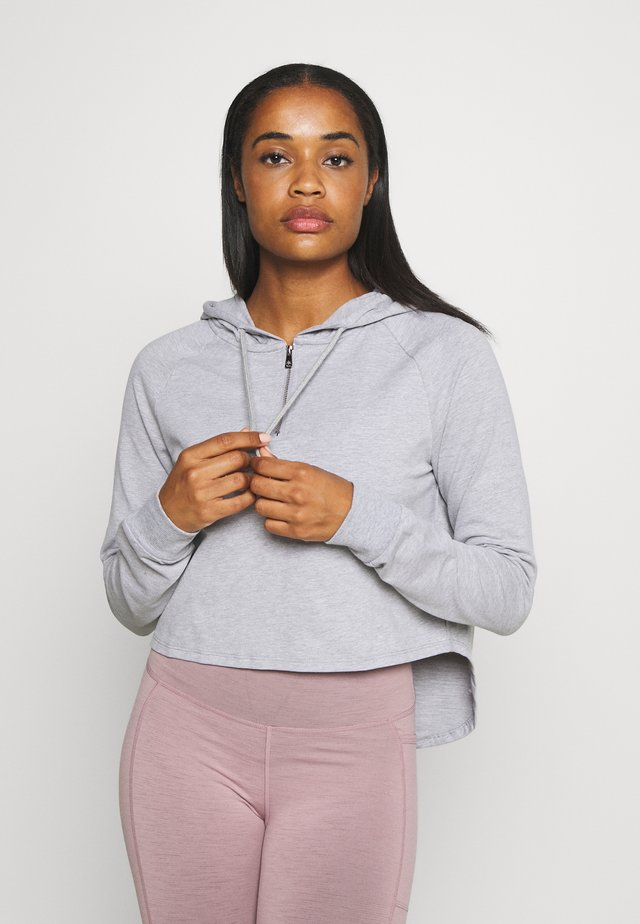 KNOCK OUT CROP HOODIE - Huppari - grey marle
