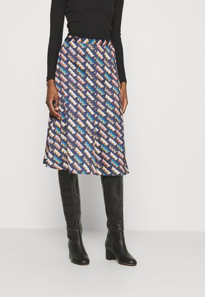 BIAS FLUTED MIDI - A-line skirt - navy