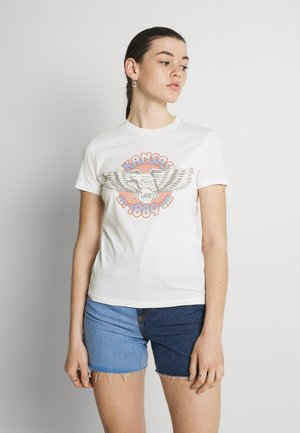 SLIM LOGO TEE - Camiseta estampada - ecru