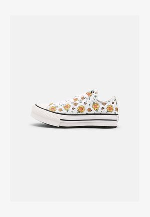 CHUCK TAYLOR ALL STAR SUNFLOWER PLATFORM OX - Matalavartiset tennarit - white/citron pulse/terracotta pink