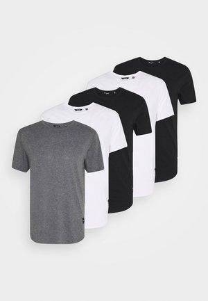 MATT 5 PACK - Basic T-shirt - white/black/dark grey melange