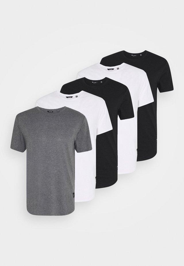 MATT 5 PACK - T-shirts - white/black/dark grey melange