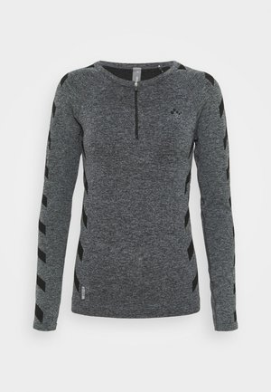 ONPSUE CIRCULAR ZIP TRAINING  - Long sleeved top - dark grey melange/black