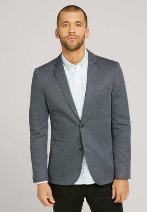 Blazer jacket - blue knitted structure