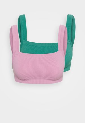 SEAMFREE CHUNKY STRAIGHT NECK CROP 2 PACK - Topp - orchid smoke/bottle green