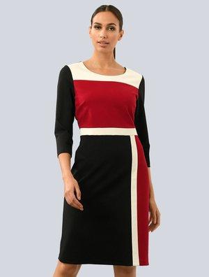 Jersey dress - schwarz,rot,weiß
