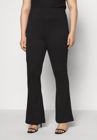 Even&Odd Curvy - SEMI FLARED - Leggings - black - 0