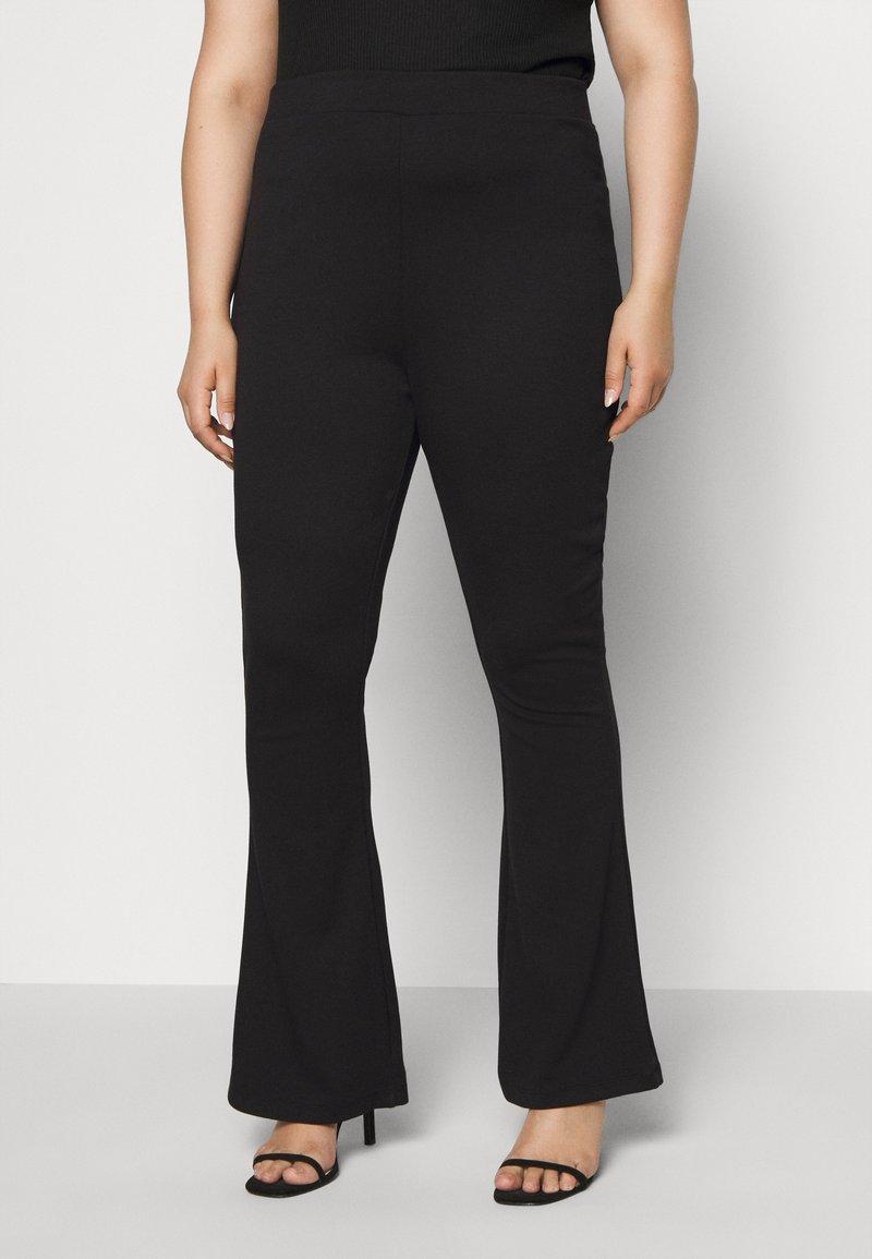 Even&Odd Curvy - SEMI FLARED - Leggings - Trousers - black