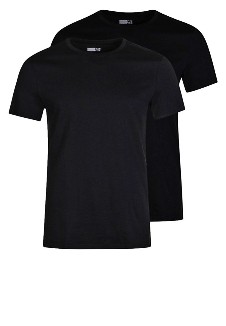 Pier One 2 PACK - T-Shirt basic - black/schwarz IsCCDm