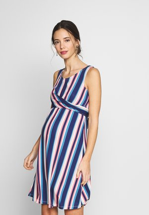 NURSING STRIPPED CROSSED DRESS - Sukienka z dżerseju - navy/pink