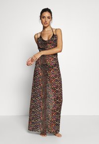 Missguided - LEOPARD PRINT COWL NECK DRESS - Complementos de playa - black - 0