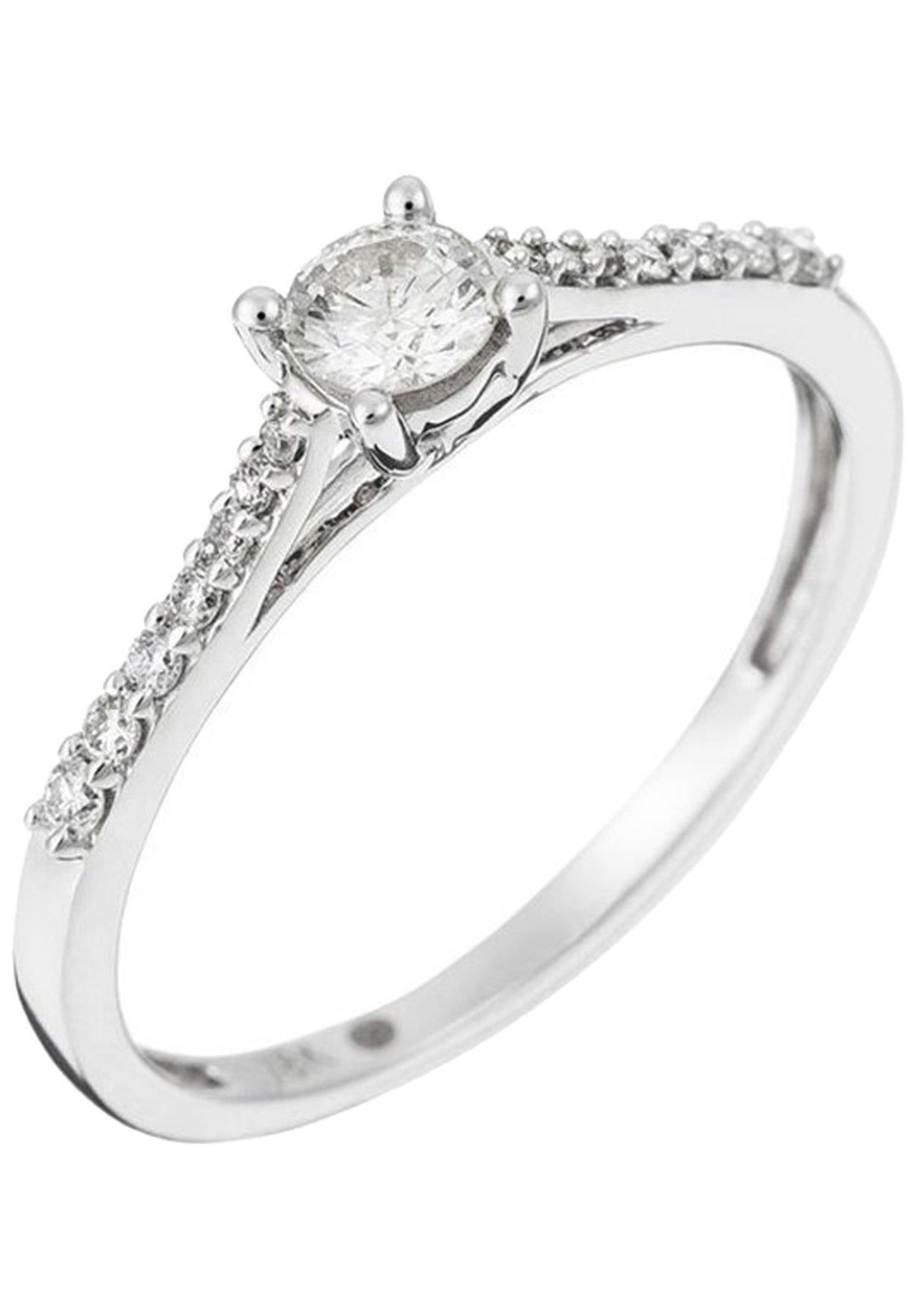 Damen WHITE GOLD RING 18K CERTIFIED 15 DIAMONDS HSI AND 14 DIAMONDS 0.10 CT - Ring