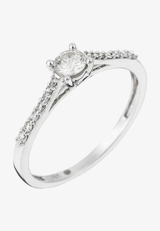 WHITE GOLD RING 18K CERTIFIED 15 DIAMONDS HSI AND 14 DIAMONDS 0.10 CT - Ring - silver