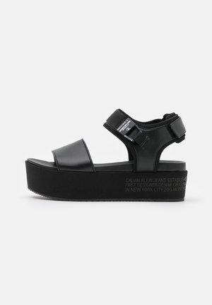 WEDGE ANKLE - Platform sandals - black