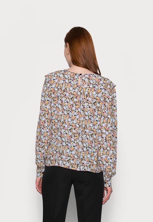 PIECES Tall PCINIS TOP - Bluzka z długim rękawem - black/blue/czarny MZIA