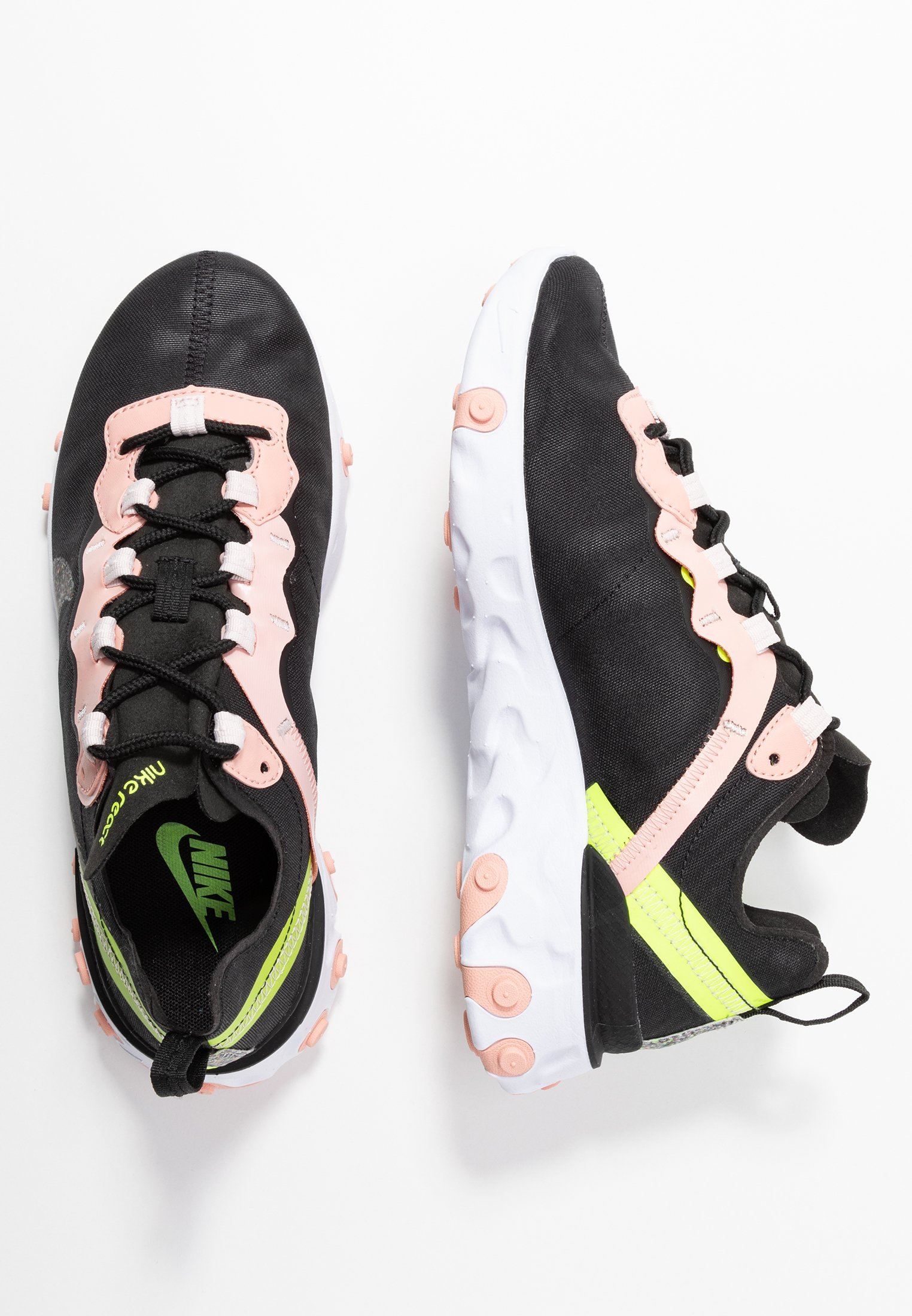 Nike Sportswear React Element 55 Prm - Sneakers Black/volt/coral Stardust/light Soft Pink/white