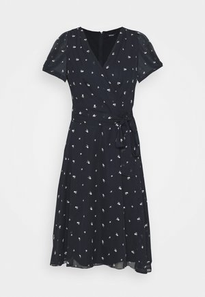 KNOT PUFF SLEEVE NECK DRESS - Day dress - navy/cream