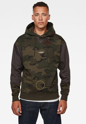 MOTO MICRO CAMO HOODED ROUND LONG SLEEVE - Hoodie - forest night circle camo
