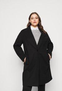 Dorothy Perkins Curve - COLLARLESS UNLINED - Classic coat - black - 0