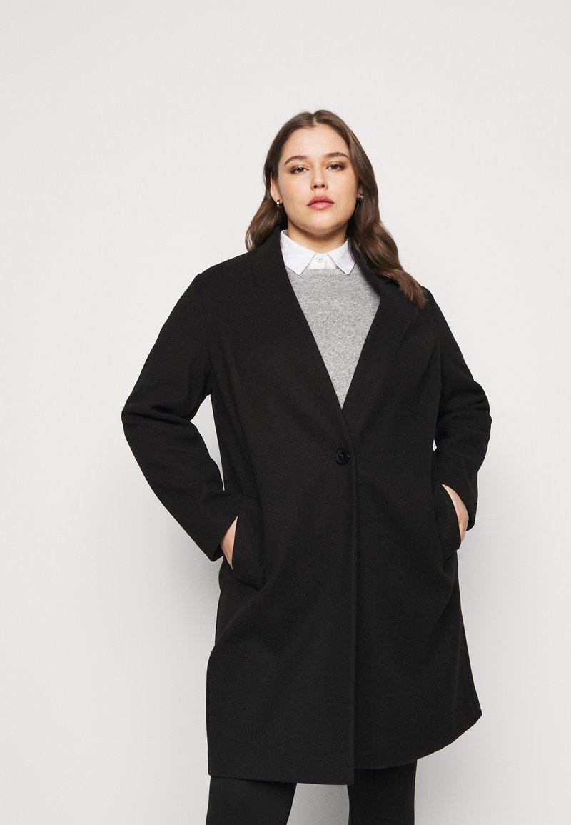 Dorothy Perkins Curve - COLLARLESS UNLINED - Classic coat - black