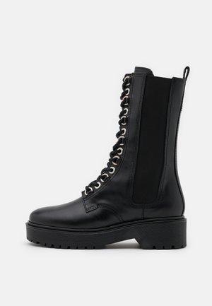 FURRY - Platform ankle boots - noir