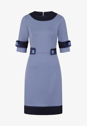 60S DRESS WITH CONTRAST HEM - Sukienka letnia - woodblue and navy silky
