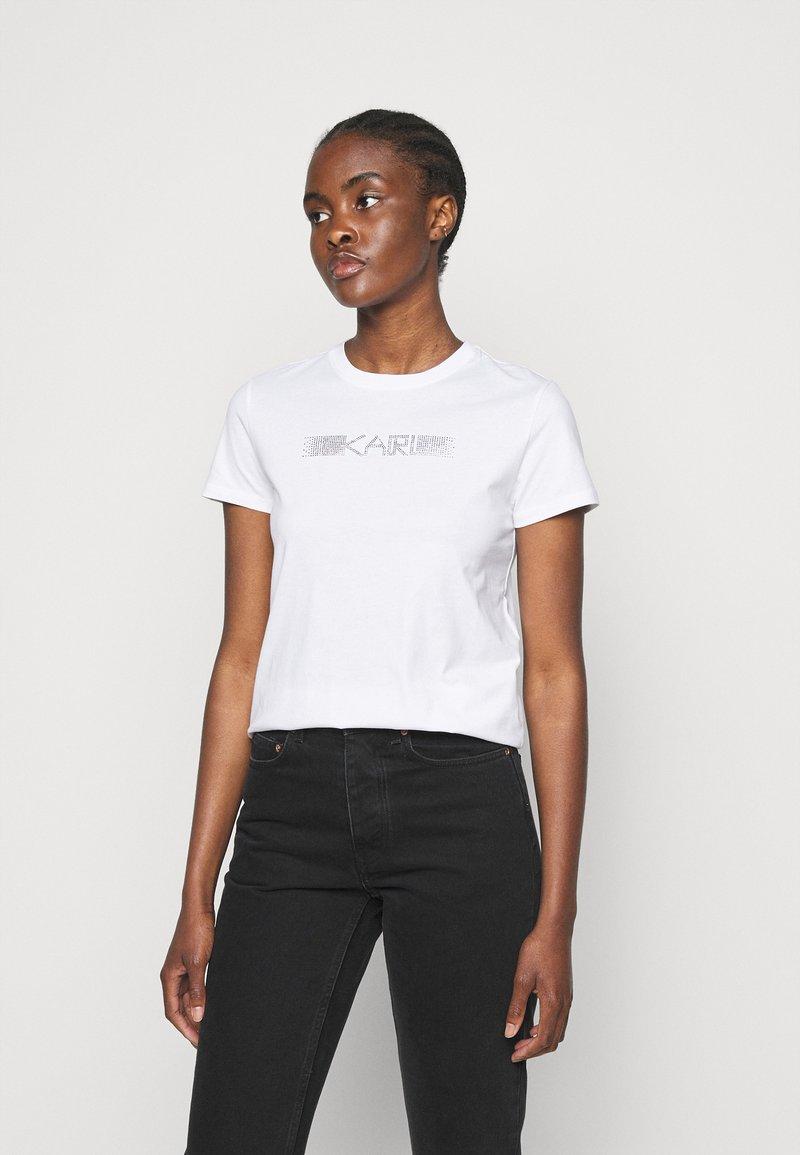 KARL LAGERFELD - RHINESTONE LOGO  - T-Shirt print - white