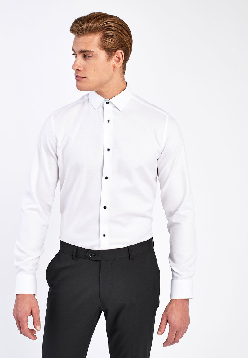Next - WHITE SLIM FIT SINGLE CUFF FLORAL CONTRAST TRIM SHIRT - Camicia - white
