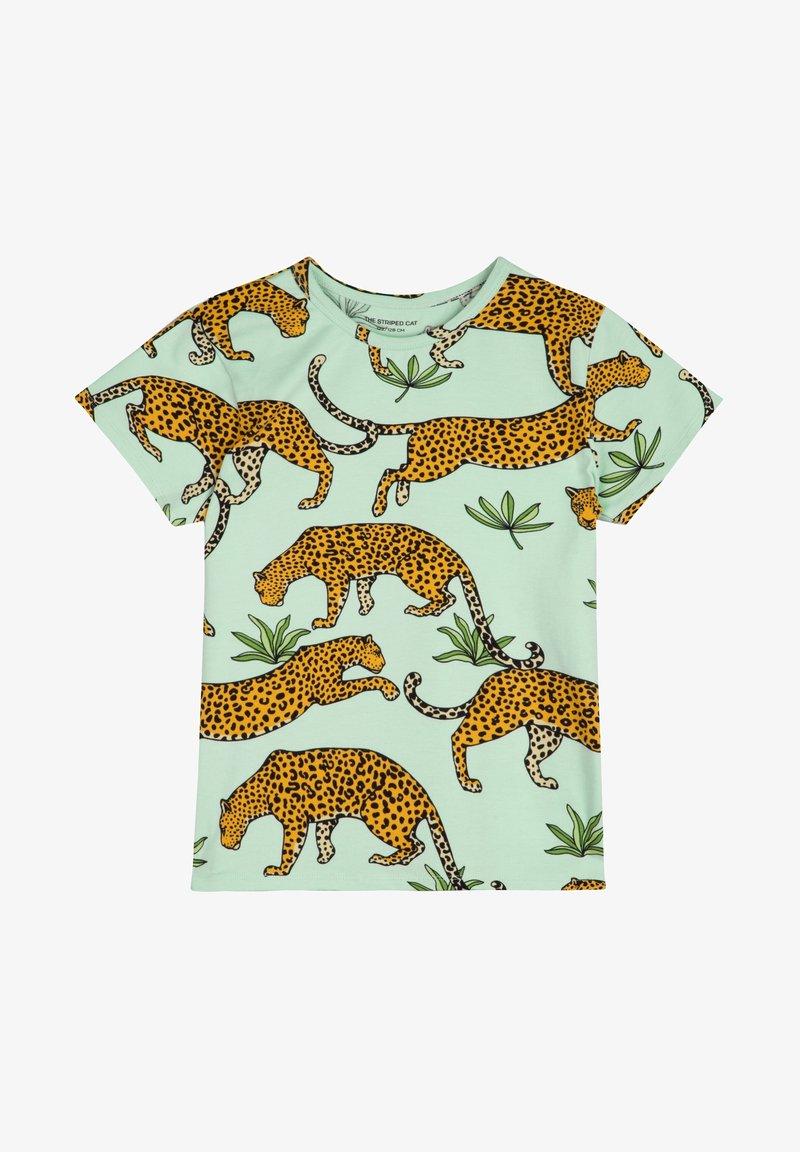 The Striped Cat - LEOPARD - Print T-shirt - green mist