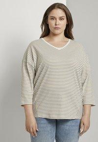 MY TRUE ME TOM TAILOR - Long sleeved top - khaki ecru horizontal stripe - 0
