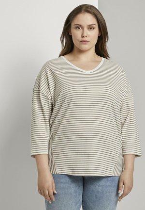 Long sleeved top - khaki ecru horizontal stripe