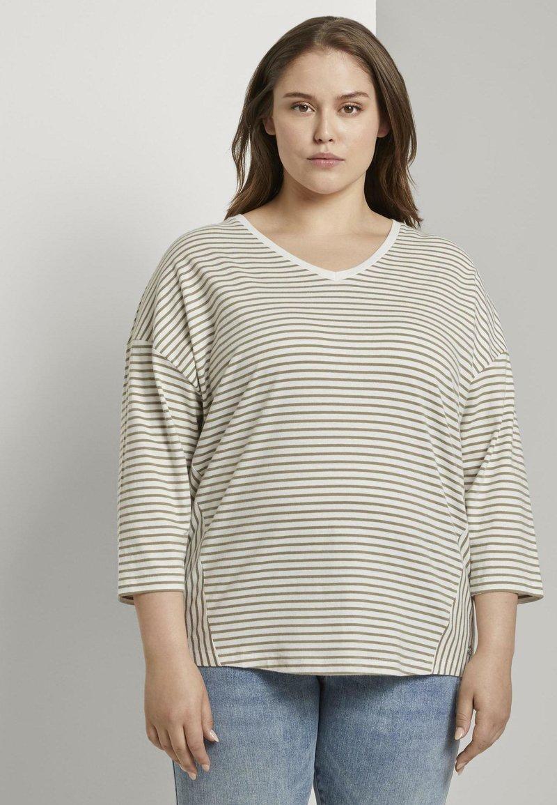 MY TRUE ME TOM TAILOR - Long sleeved top - khaki ecru horizontal stripe