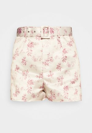 FLORAL BELTED MINI - Shorts - cream