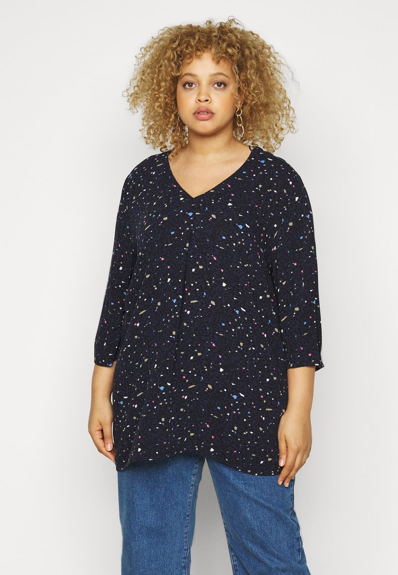 MY TRUE ME TOM TAILOR - Blouse - navy based terrazzo