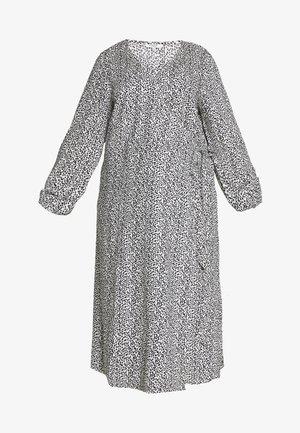 PRINTED MIDI WRAP DRESS - Denní šaty - cream and black